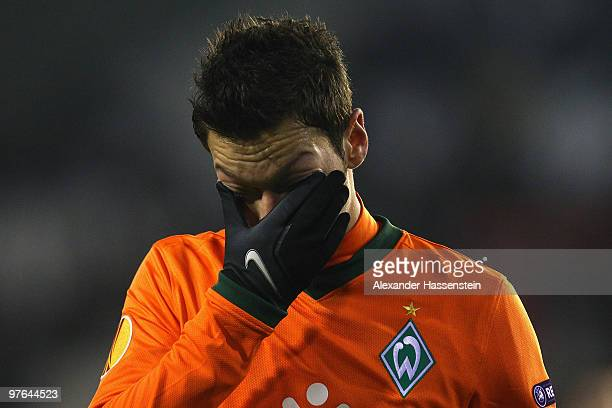 Mesut Oezil of Bremen reacts during the UEFA Europa League round of 16 first leg match between Valencia and SV Werder Bremen at Mestalla Stadium on...