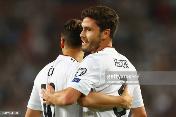 Mesut Oezil of Germany is celebrated by Jonas Hector of Germany after he scored Germany's first goal to make it 10 during the FIFA 2018 World Cup...