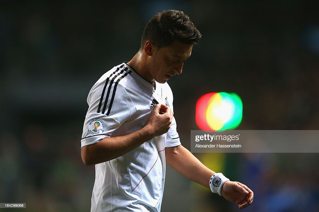 Mesut Oezil of Germany reacts during the FIFA 2014 World Cup qualifier group C match between Kazakhstan and Germany at Astana Arena on March 22, 2013 in Astana, Kazakhstan.
