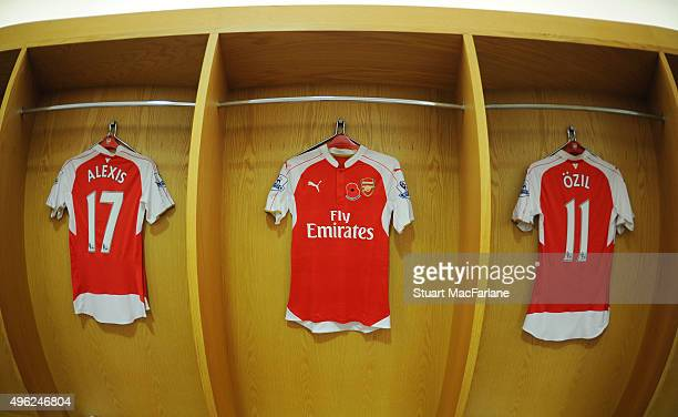 Mesut Ozil and Alexis Sanchez's Poppy shirts in the Arsenal changing room before the Barclays Premier League match between Arsenal and Tottenham...
