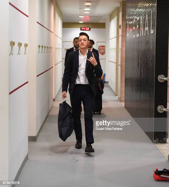 Mesut Ozil in the Arsnwal changing room before the Premier League match between Arsenal and Tottenham Hotspur at Emirates Stadium on November 18 2017...