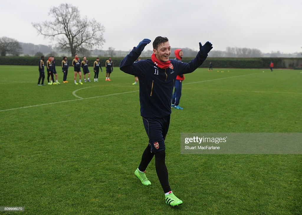 Mesut Ozil of Arsenal after a training session at London Colney on February 13, 2016 in St Albans, England.