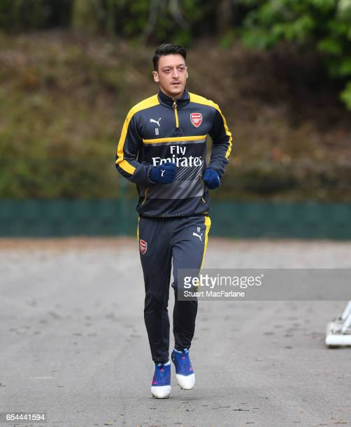 Mesut Ozil of Arsenal before a training session at London Colney on March 17 2017 in St Albans England