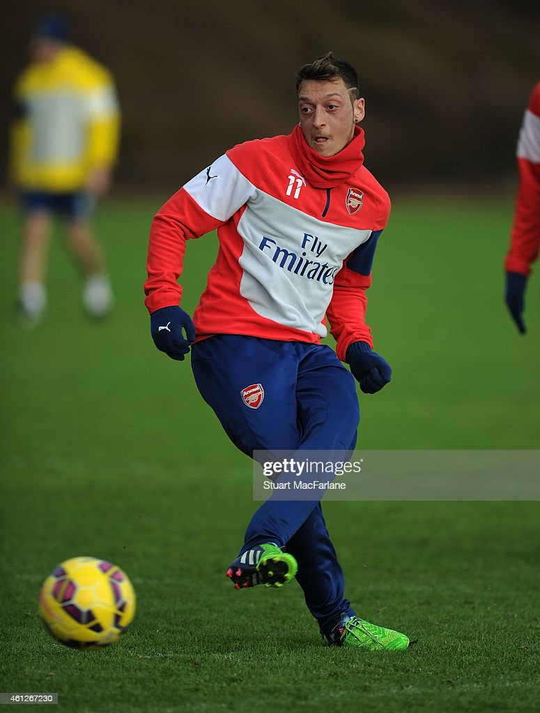 Mesut Ozil of Arsenal during a training session at London Colney on January 10, 2015 in St Albans, England.