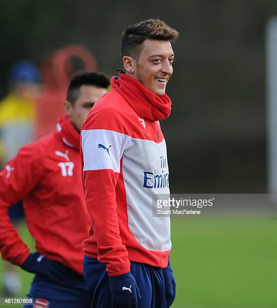 Mesut Ozil of Arsenal during a training session at London Colney on January 10 2015 in St Albans England