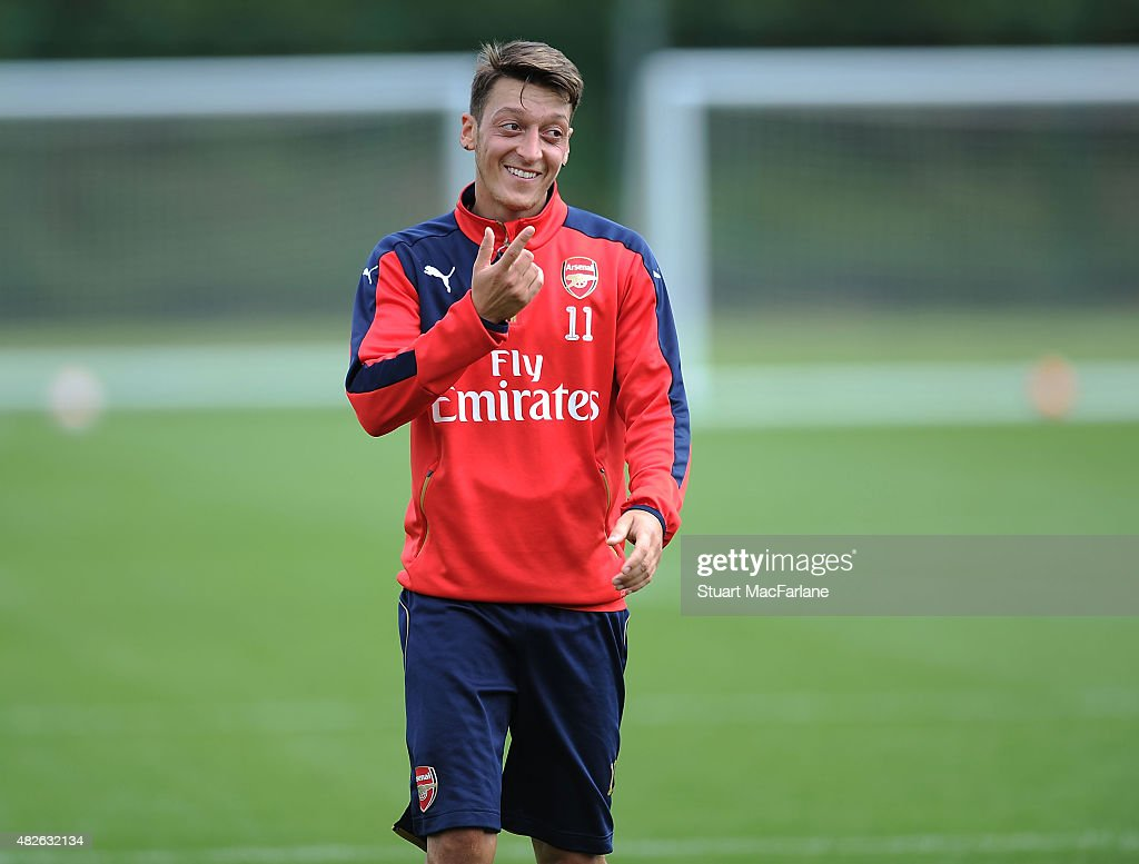 Mesut Ozil of Arsenal during a training session at London Colney on August 1, 2015 in St Albans, England.