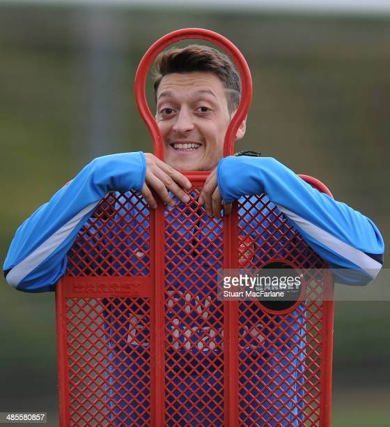 Mesut Ozil of Arsenal during a training session at London Colney on April 19 2014 in St Albans England