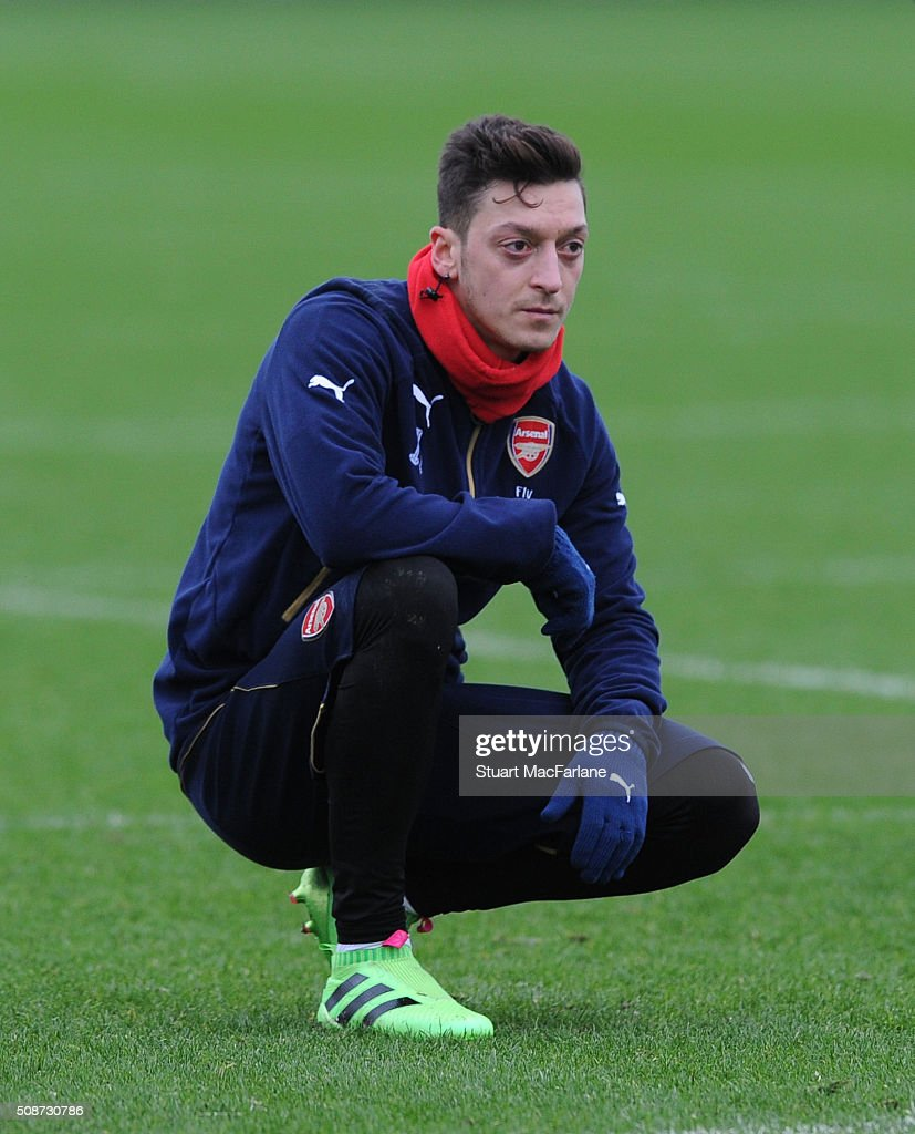 Mesut Ozil of Arsenal during a training session at London Colney on February 6, 2016 in St Albans, England.