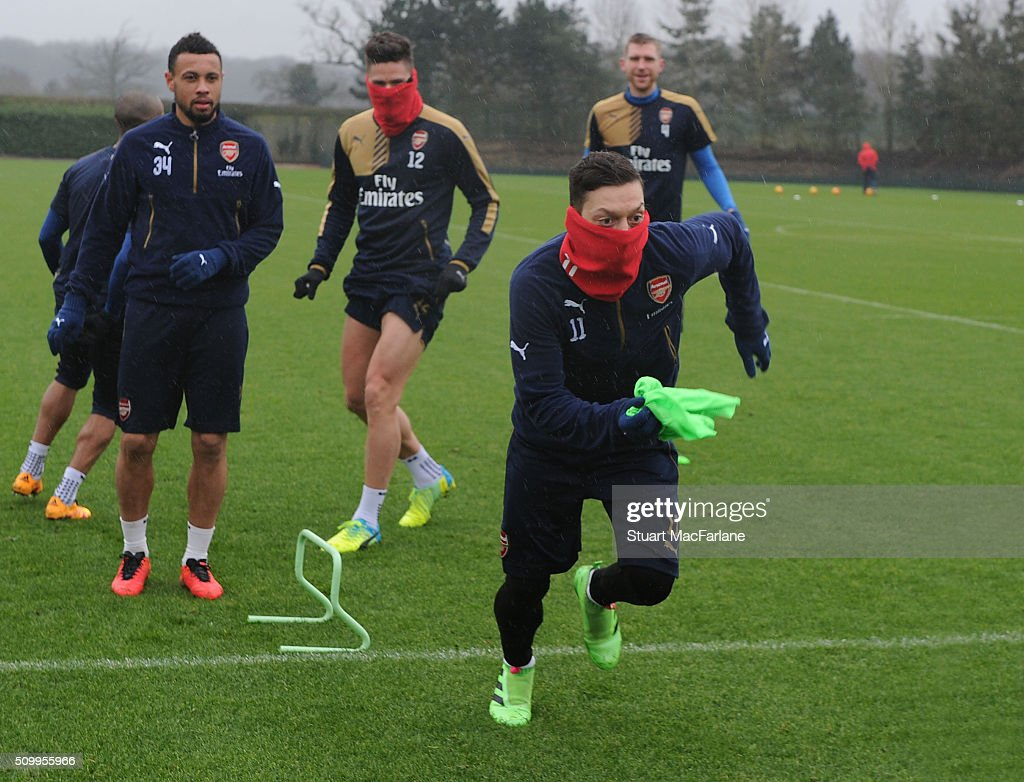 Mesut Ozil of Arsenal during a training session at London Colney on February 13, 2016 in St Albans, England.