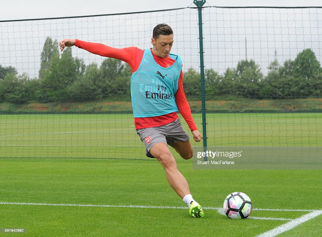 Mesut Ozil of Arsenal during a training session at London Colney on August 19 2016 in St Albans England
