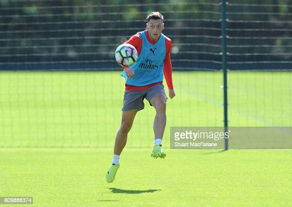 Mesut Ozil of Arsenal during a training session at London Colney on September 23 2016 in St Albans England