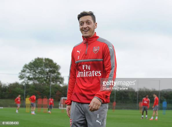 Mesut Ozil of Arsenal during a training session at London Colney on October 21 2016 in St Albans England