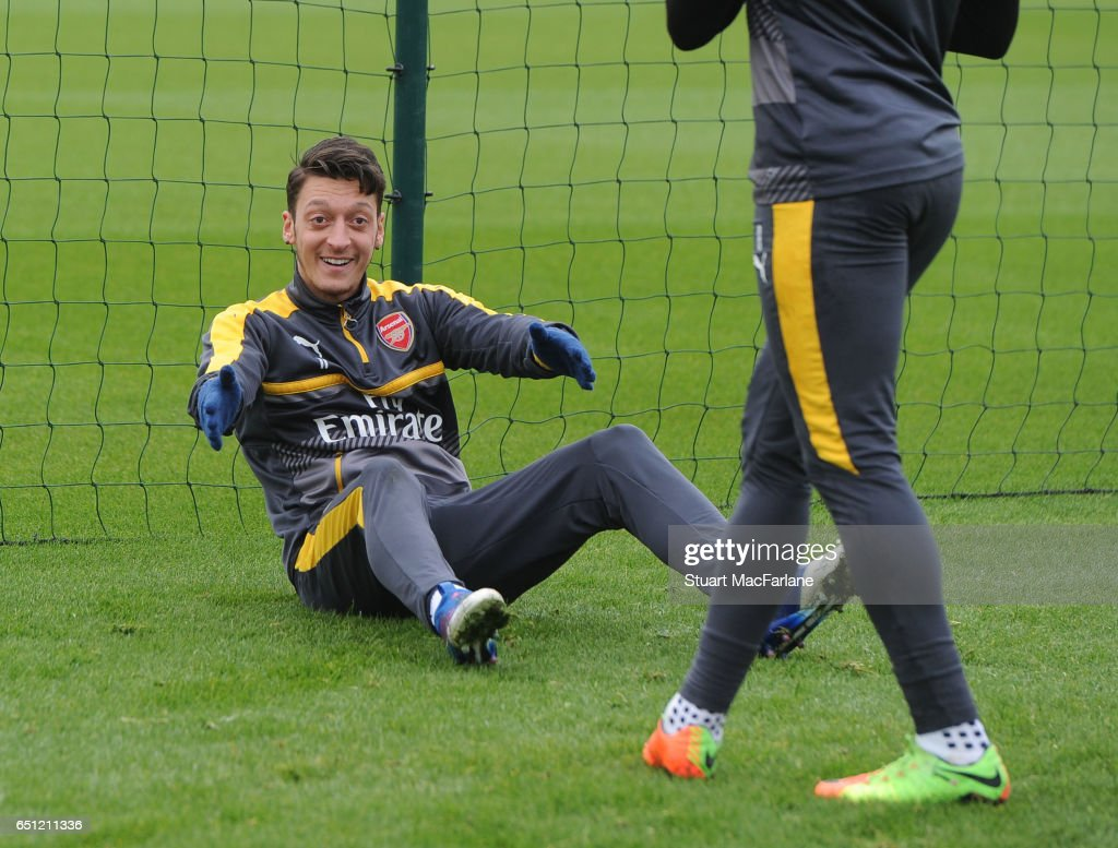 Mesut Ozil of Arsenal during a training session at London Colney on March 10, 2017 in St Albans, England.