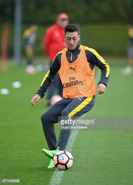 Mesut Ozil of Arsenal during a training session at London Colney on April 22 2017 in St Albans England