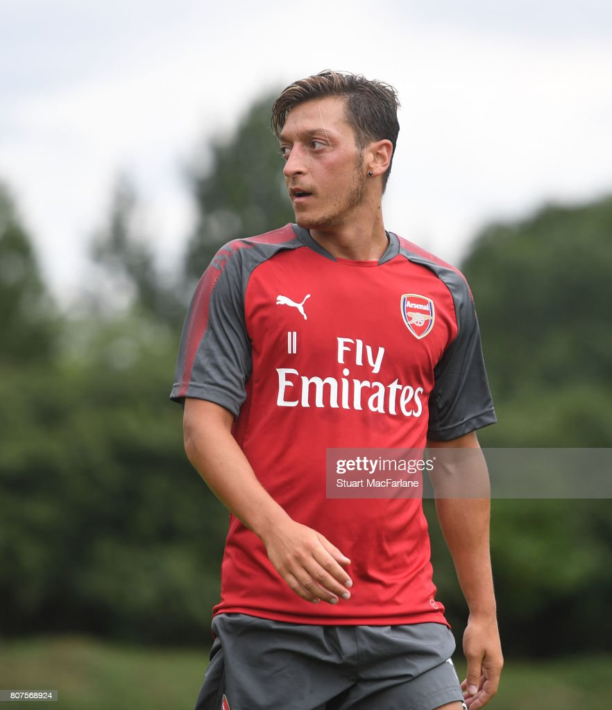 Mesut Ozil of Arsenal during a training session at London Colney on July 4, 2017 in St Albans, England.