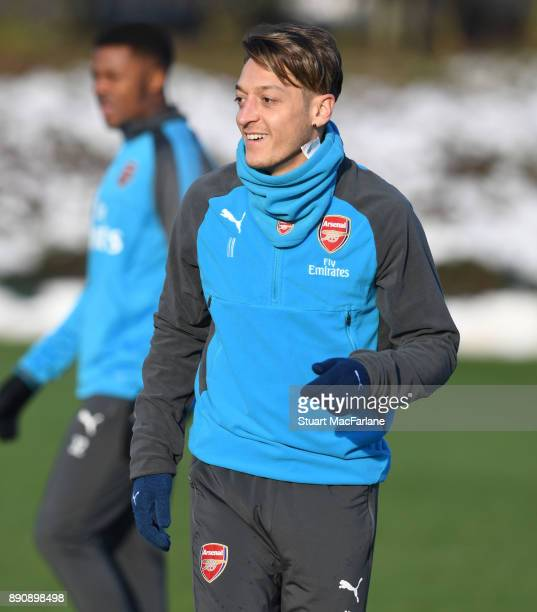 Mesut Ozil of Arsenal during a training session at London Colney on December 12 2017 in St Albans England
