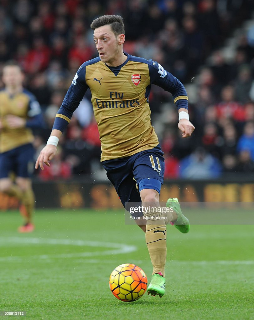 Mesut Ozil of Arsenal during the Barclays Premier League match between AFC Bournemouth and Arsenal at The Vitality Stadium on February 7, 2016 in Bournemouth, England. (Photo by Stuart MacFarlane/Arsenal FC via Getty Images