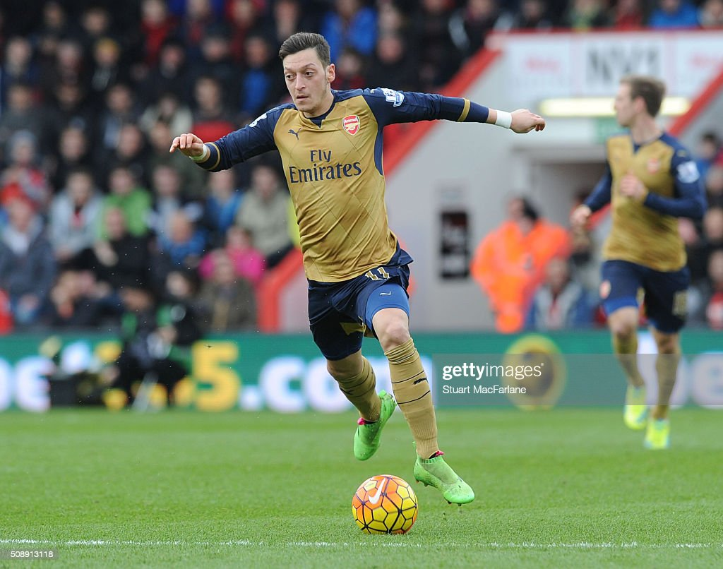 Mesut Ozil of Arsenal during the Barclays Premier League match between AFC Bournemouth and Arsenal at The Vitality Stadium on February 7, 2016 in Bournemouth, England.