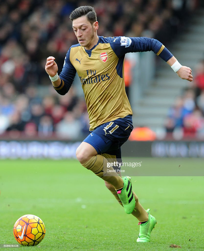 Mesut Ozil of Arsenal during the Barclays Premier League match between AFC Bournemouth and Arsenal at The Vitality Stadium, Bournemouth 7th February 2016.