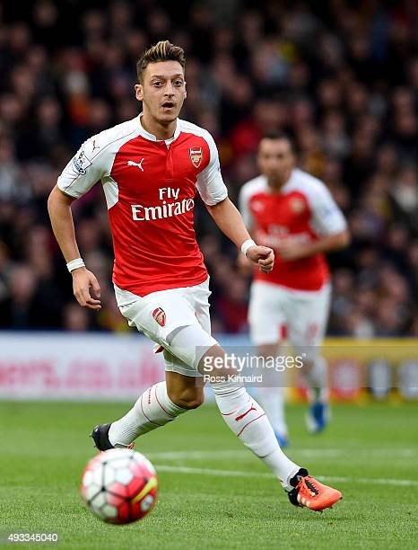 Mesut Ozil of Arsenal during the Barclays Premier League match between Watford and Arsenal at Vicarage Road on October 17 2015 in Watford England