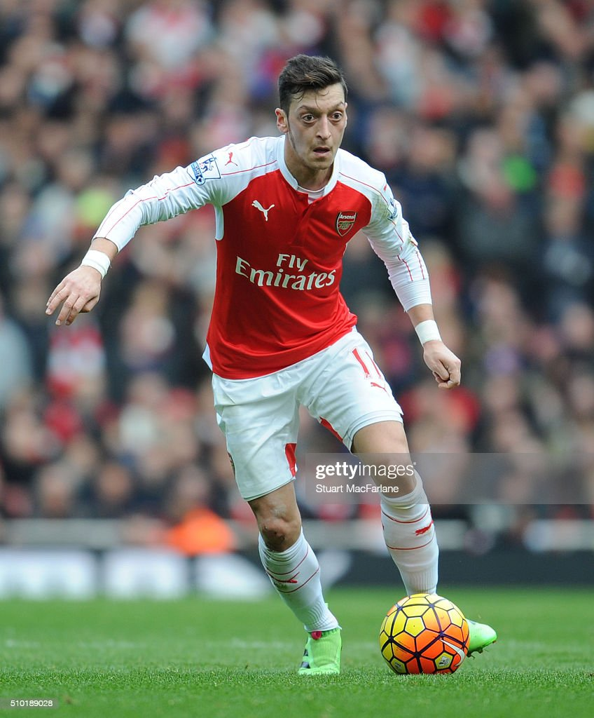 Mesut Ozil of Arsenal during the Barclays Premier League match between Arsenal and Leicester City at Emirates Stadium on February 14, 2016 in London, England.