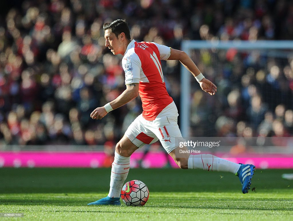Mesut Ozil of Arsenal during the Barclays Premier League match between Arsenal and Norwich City at on April 30th, 2016 in London, England