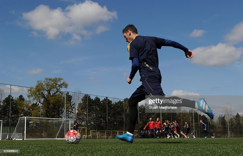 Mesut Ozil of Arsenal in action during a training session at London Colney on April 29, 2016 in St Albans, England.