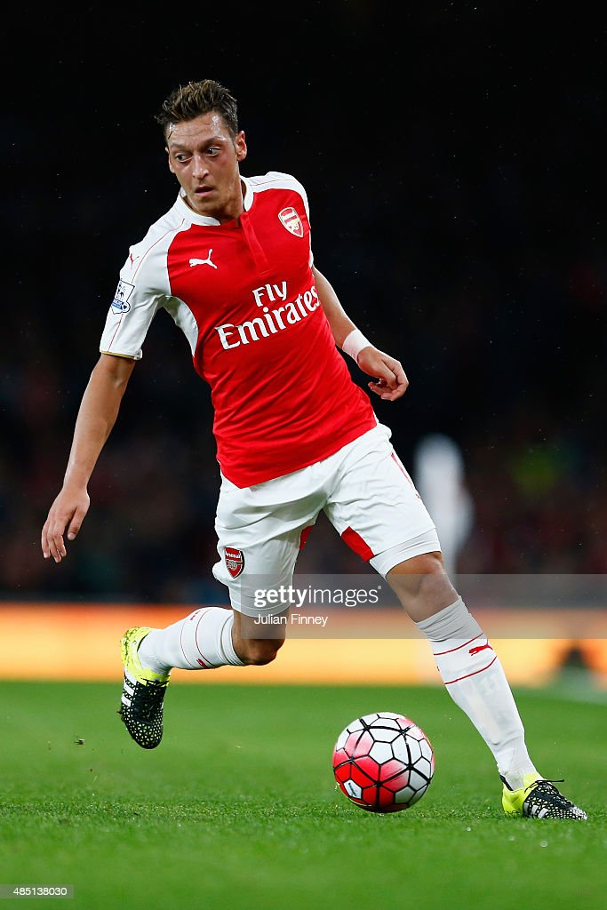 Mesut Ozil of Arsenal in action during the Barclays Premier League match between Arsenal and Liverpool at the Emirates Stadium on August 24, 2015 in London, United Kingdom.