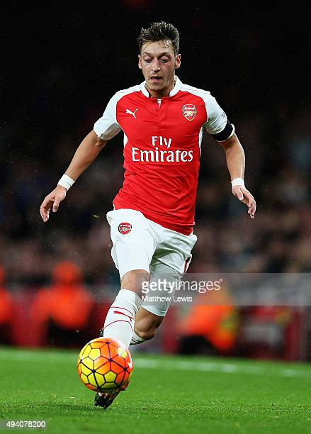 Mesut Ozil of arsenal in action during the Barclays Premier League match between Arsenal and Everton at Emirates Stadium on October 24 2015 in London...