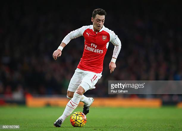 Mesut Ozil of Arsenal in action during the Barclays Premier League match between Arsenal and Sunderland at Emirates Stadium on December 5 2015 in...