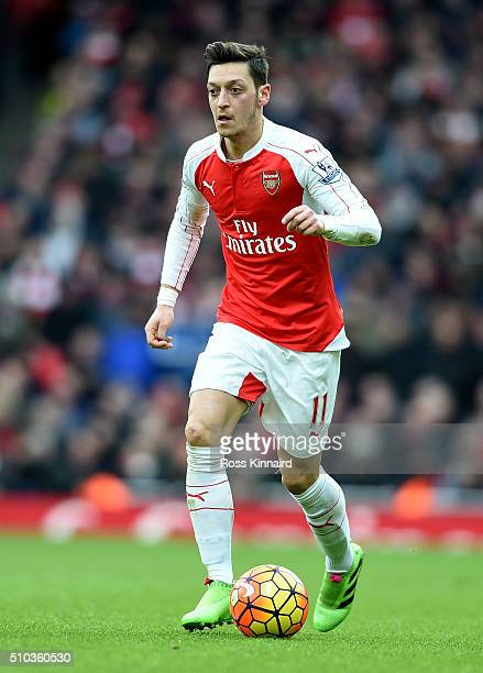 Mesut Ozil of Arsenal in action during the Barclays Premier League match between Arsenal and Leicester City at the Emirates Stadium February 14 2016...