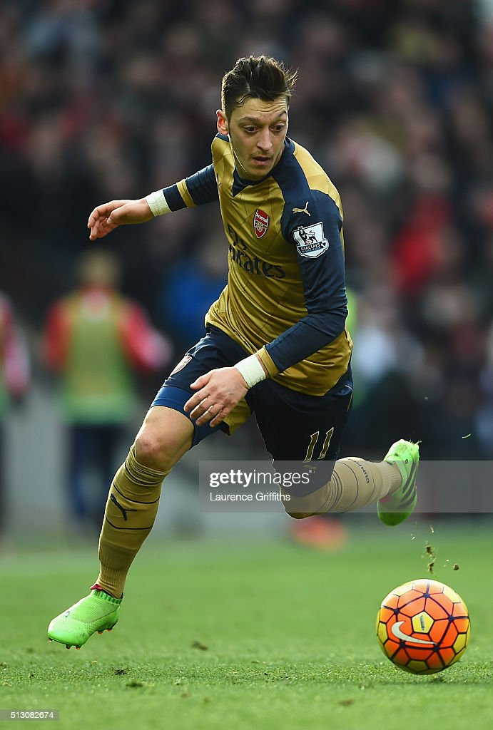 Mesut Ozil of Arsenal in action during the Barclays Premier League match between Manchester United and Arsenal at Old Trafford Stadium on February 28, 2016 in Manchester, England.