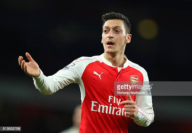 Mesut Ozil of Arsenal in action during the Barclays Premier League match between Arsenal and Swansea City at Emirates Stadium on March 2 2016 in...