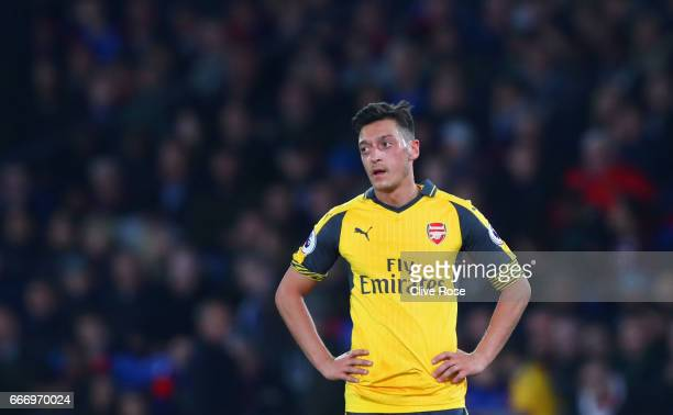 Mesut Ozil of Arsenal looks dejected during the Premier League match between Crystal Palace and Arsenal at Selhurst Park on April 10 2017 in London...