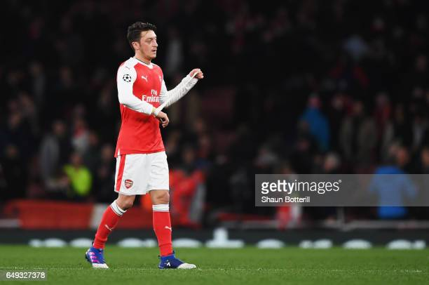 Mesut Ozil of Arsenal looks dejected in defeat after the UEFA Champions League Round of 16 second leg match between Arsenal FC and FC Bayern Muenchen...
