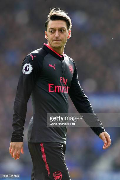 Mesut Ozil of Arsenal looks on during the Premier League match between Everton and Arsenal at Goodison Park on October 22 2017 in Liverpool England