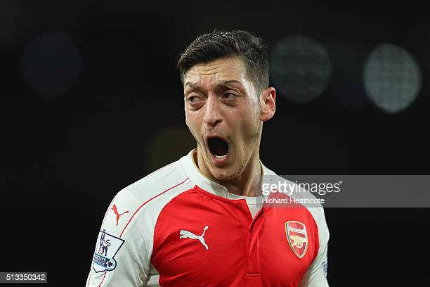 Mesut Ozil of Arsenal reacts during the Barclays Premier League match between Arsenal and Swansea City at the Emirates Stadium on March 2 2016 in...