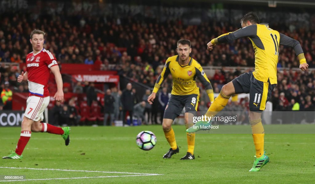 Mesut Ozil of Arsenal (11) scores their second goal during the Premier League match between Middlesbrough and Arsenal at Riverside Stadium on April 17, 2017 in Middlesbrough, England.