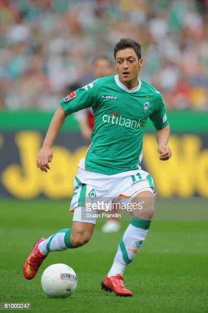 Mesut Ozil of Bremen in action during the Bundesliga match between Werder Bremen and Energie Cottbus at the Weser stadium on May 3 2008 in Bremen...