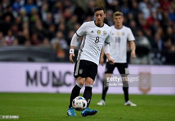 Mesut Ozil of Germany in action during the international friendly match between Germany and Italy at Allianz Arena on March 29 2016 in Munich Germany