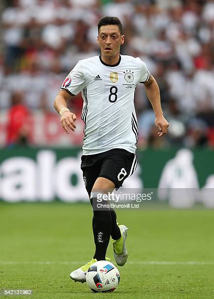 Mesut Ozil of Germany in action during the UEFA Euro 2016 Group C match between the Northern Ireland and Germany at Parc des Princes on June 21 2016...