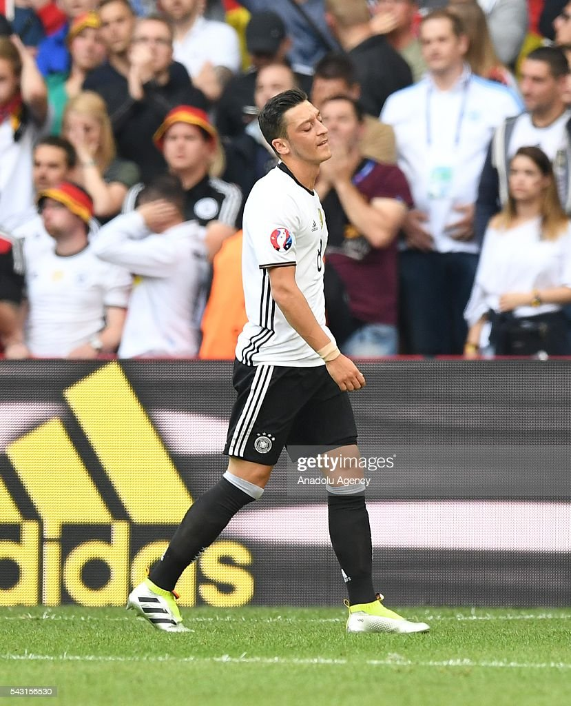 Mesut Ozil of Germany reacts after missing a penalty kick during the UEFA Euro 2016 round of 16 football match between Germany and Slovakia at Stade Pierre Mauroy in Lille, France on June 26, 2016.