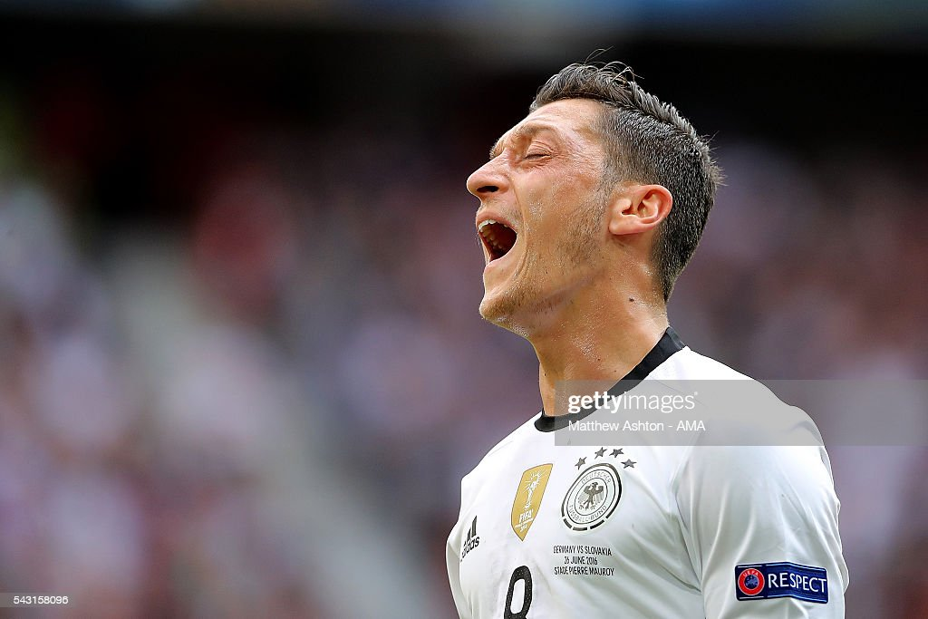 Mesut Ozil of Germany reacts during the UEFA Euro 2016 Round of 16 match between Germany and Slovakia at Stade Pierre-Mauroy on June 26, 2016 in Lille, France.