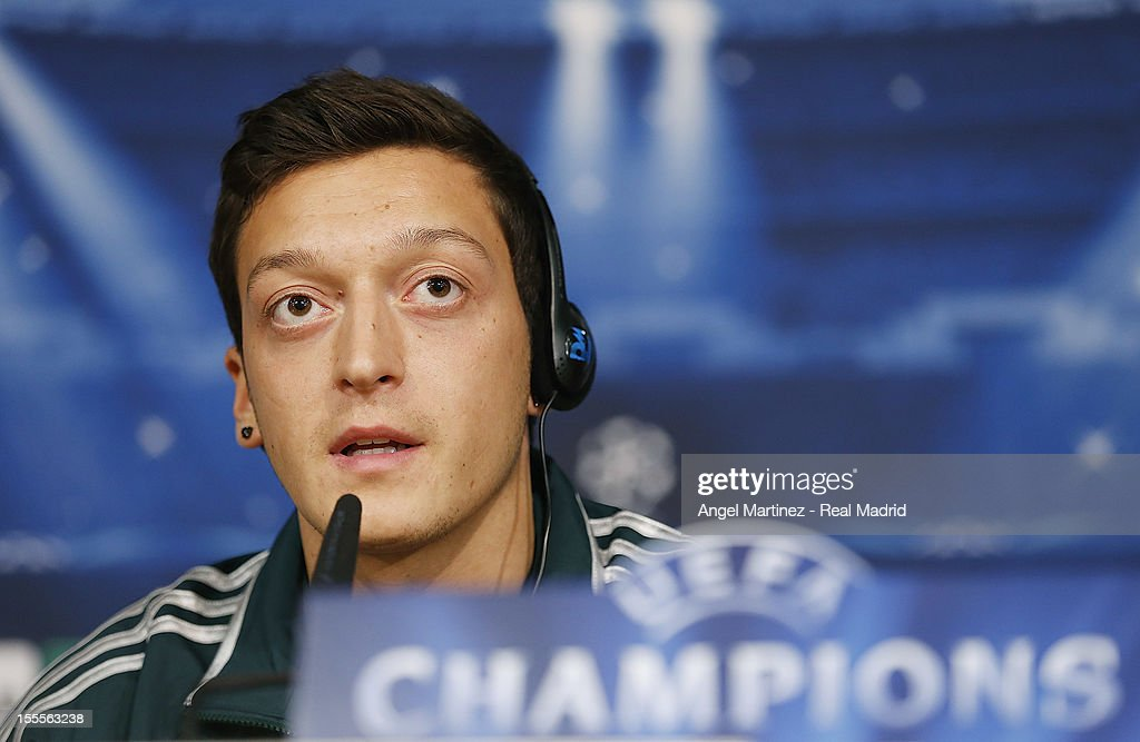 Mesut Ozil of Real Madrid attends a press conference ahead of their UEFA Champions League group stage match against Borussia Dortmund at Santiago Bernabeu stadium on November 5, 2012 in Madrid, Spain.