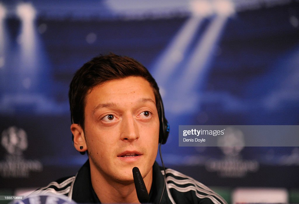 Mesut Ozil of Real Madrid faces the press during a news conference at the Santiago Bernabeu stadium on November 5, 2012 in Madrid, Spain.