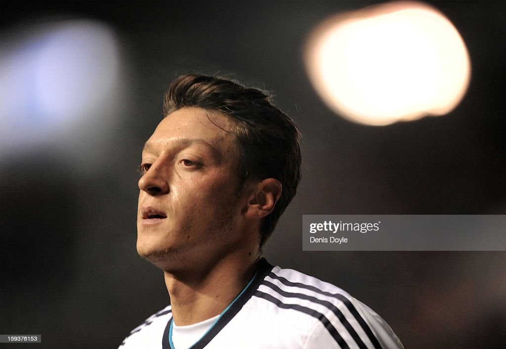 Mesut Ozil of Real Madrid looks on during the La Liga match between Osasuna and Real Madrid at estadio Reino de Navarra on January 12, 2013 in Pamplona, Spain.