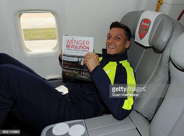 Mesut Ozil on the Arsenal plane to Paris at Luton Airport on September 12 2016 in Luton England