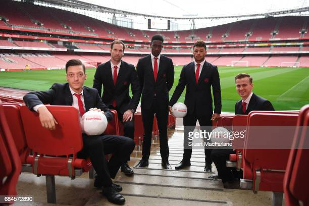 Mesut Ozil Petr Cech Danny Welbeck Alex OxladeChamberlain and Rob Holding of Arsenal attend 'A Night To Inspire' The Arsenal Foundation Charity Ball...