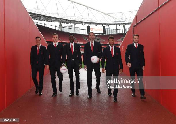 Mesut Ozil Rob Holding Danny Welbeck Petr Cech Alexi OxladeChamberlain and Aaron Ramsey of Arsenal attend 'A Night To Inspire' The Arsenal Foundation...
