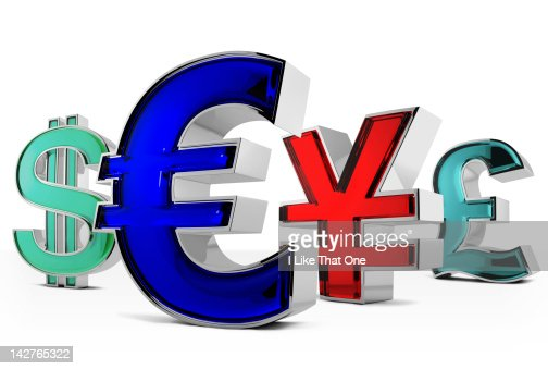Metal and blue glass Euro symbol, other currencies : Stock Photo